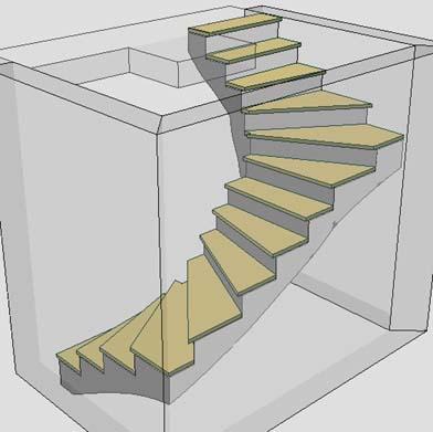 Schody zabiegowe 180°